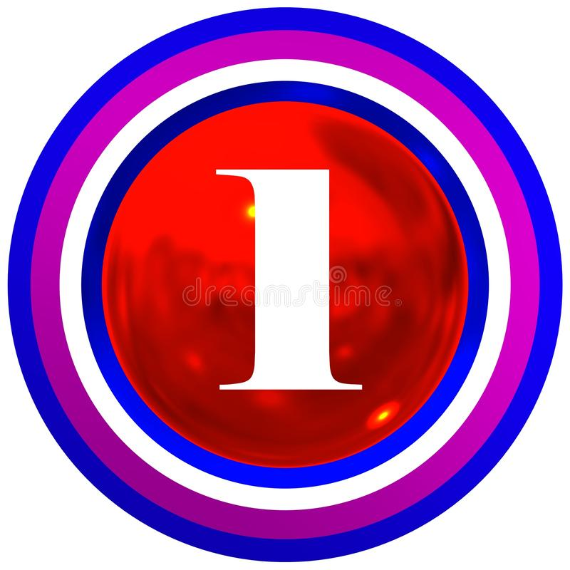 Number one over bright sphere with circles royalty free stock photography