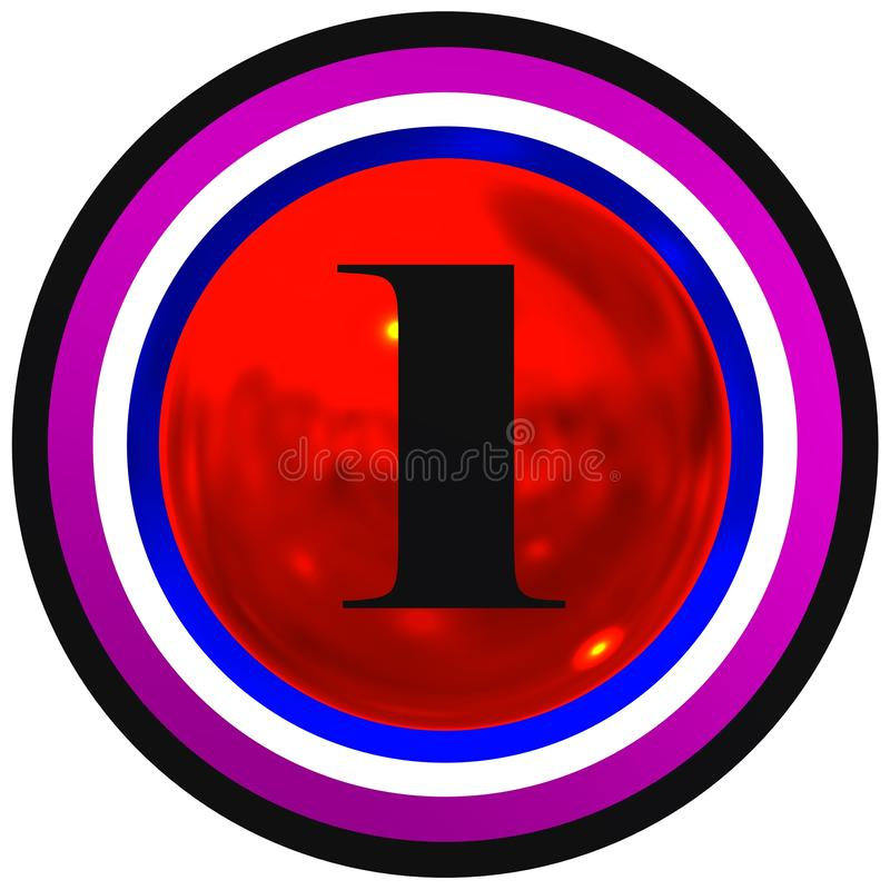 Number one over red bright sphere with circles royalty free stock images