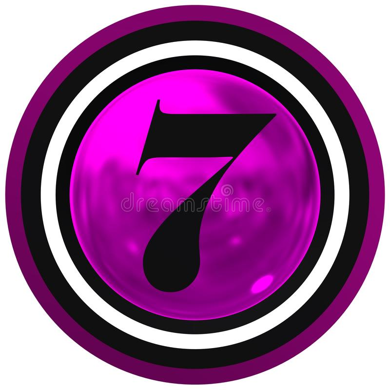 Number sevenr over bright sphere with circles stock images