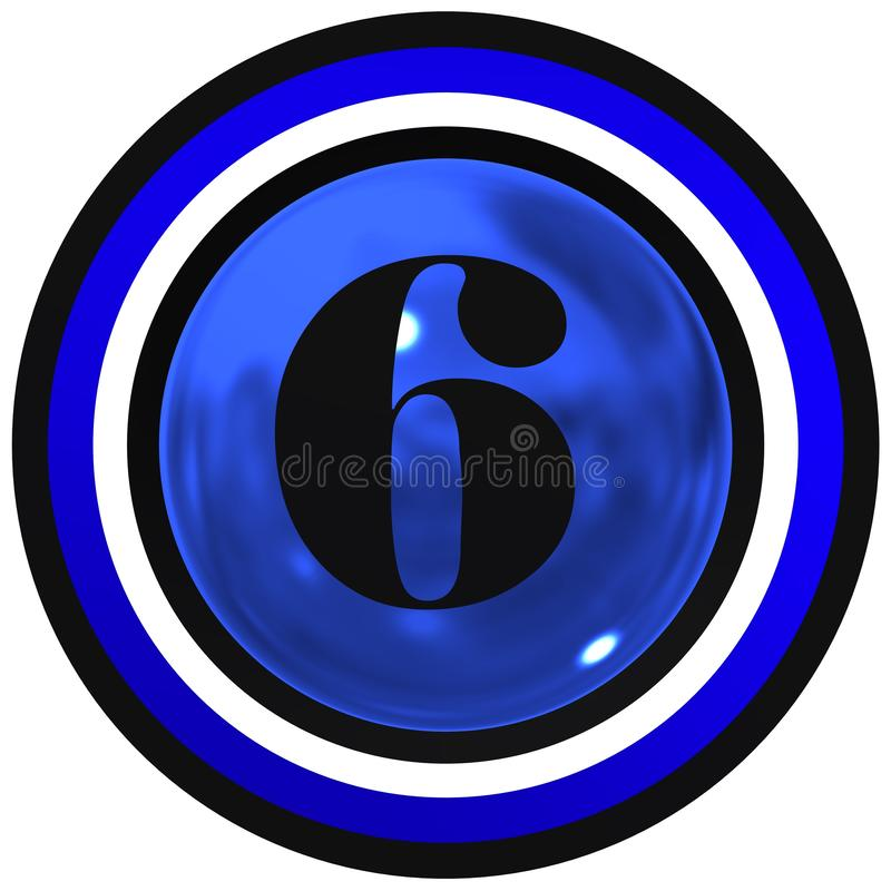 Number six over blue bright sphere with circles stock photo