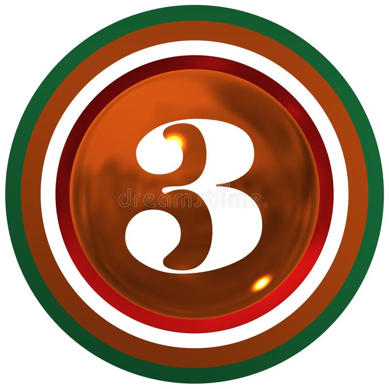 Number three over bright sphere with circles royalty free illustration