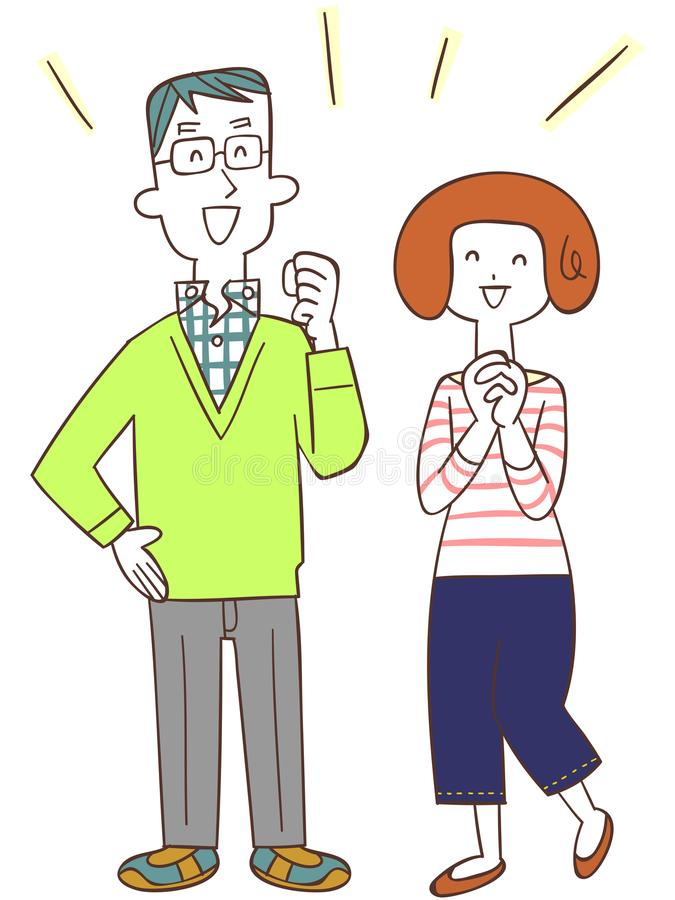 A couple who is happy. The image of a couple who is happy, with their smiles stock illustration