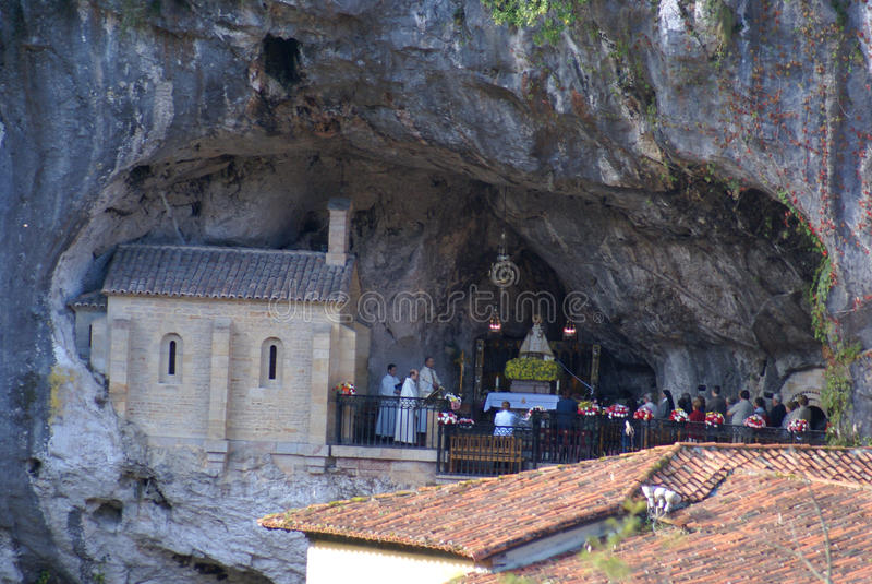 Download Image Of Covadonga Chapel, Santa Cueva Sanctuary, Asturias, Spai  Editorial Stock Photo