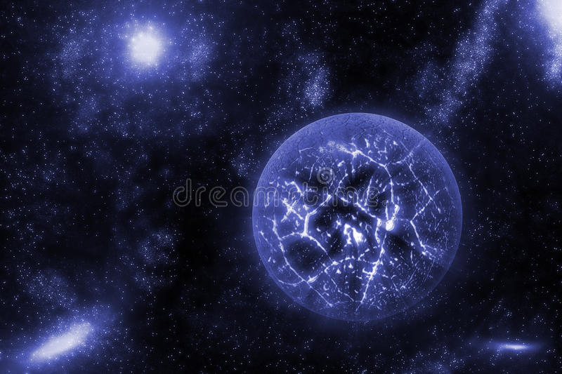 Image of crashing, exploding planet in deep space, universe with star field background. Computer generated abstract background. vector illustration