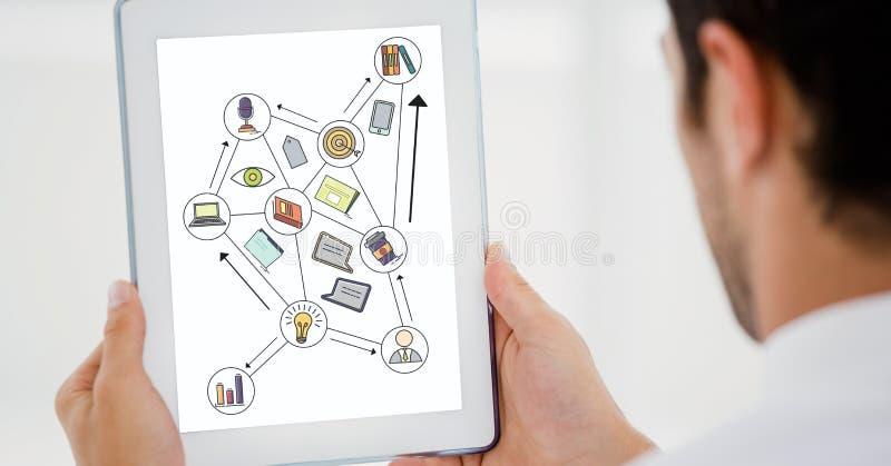 Image cultivée d'homme d'affaires utilisant le comprimé numérique avec de diverses icônes sur l'écran de dispositif illustration libre de droits