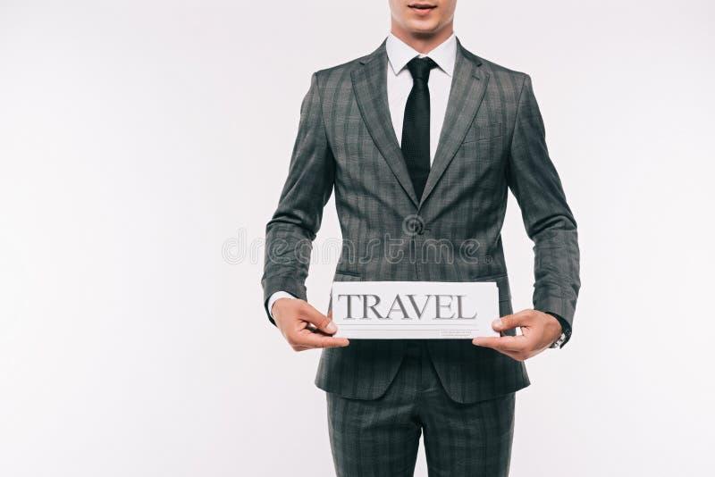 image cultivée de journal de voyage d'apparence d'homme d'affaires images stock