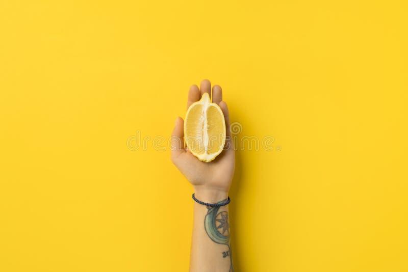 image cultivée de moitié de participation de femme de citron photo stock