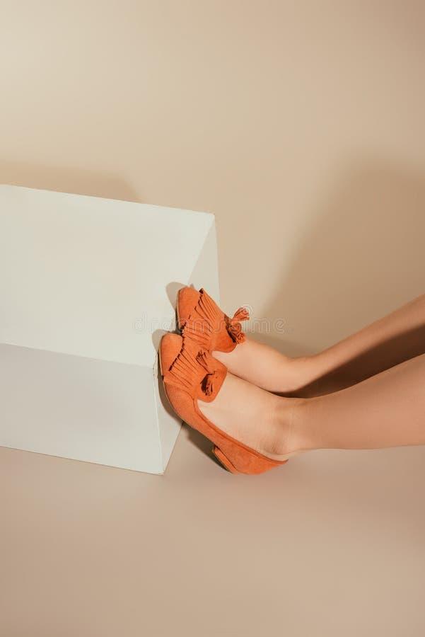 image cultivée des pieds femelles dans des chaussures élégantes de pantoufle photographie stock libre de droits