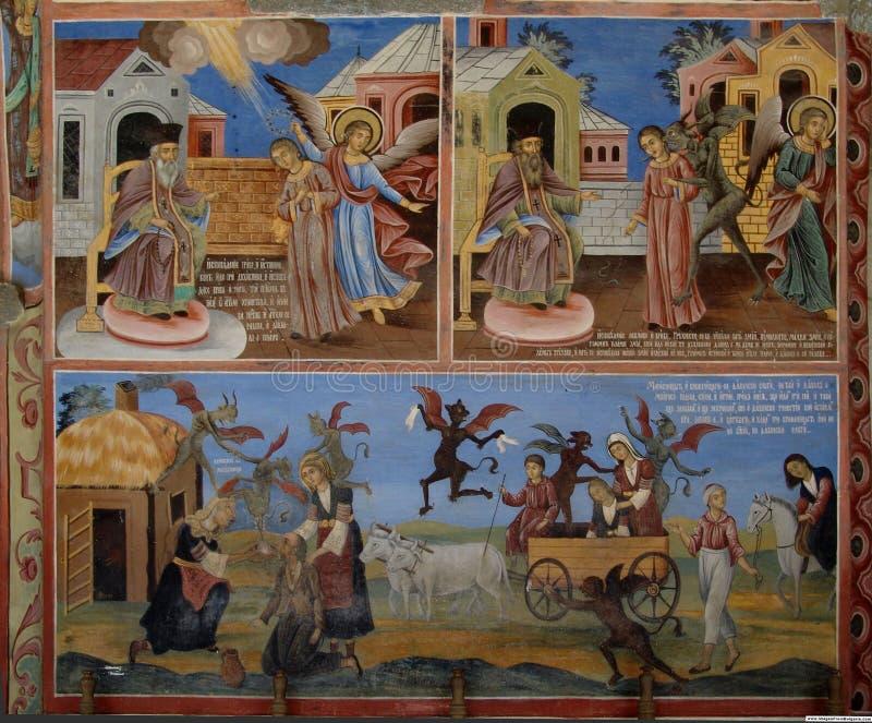 Image d'actions de peinture de mur de monastère de Rila photos libres de droits