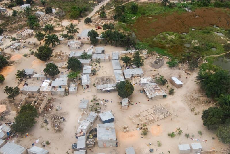 Image d'antenne de Soyo de ville de l'Angola photos stock