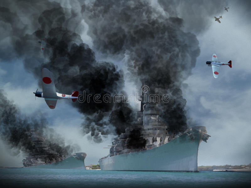 Image d'artiste d'attaque de Pearl Harbor illustration de vecteur