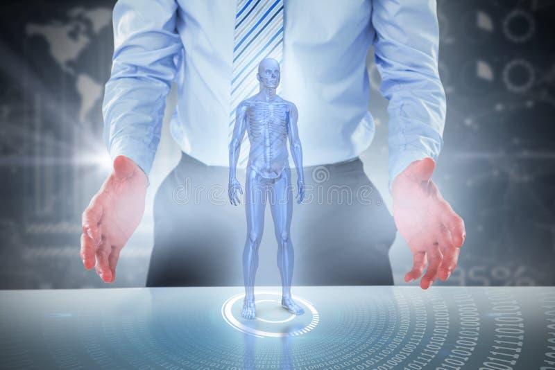 Image 3d composée de la section médiane de l'homme d'affaires feignant pour tenir l'objet invisible image libre de droits