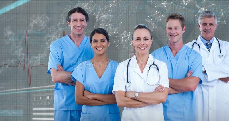 image 3D composée du portrait des médecins et des chirurgiens sûrs images libres de droits