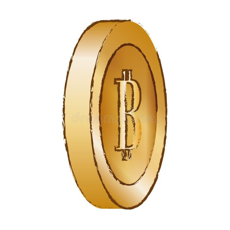image d'or de bitcoin, symbole numérique illustration stock