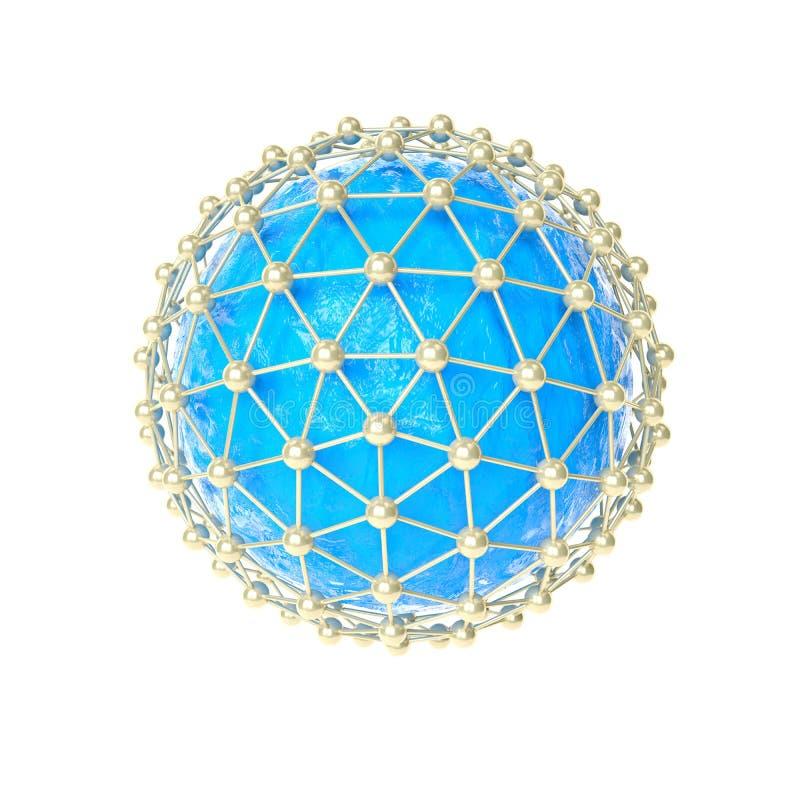 image 3d de concept global d'Internet Modèle de réseau global, illustration 3d illustration libre de droits