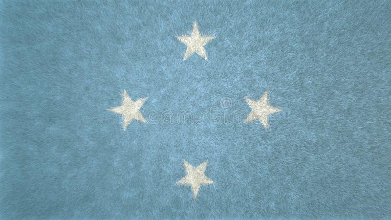 image 3D du drapeau des Etats fédérés de Micronésie illustration de vecteur