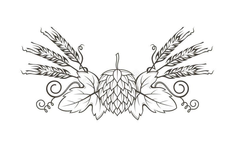 Image d'houblon et d'orge illustration de vecteur