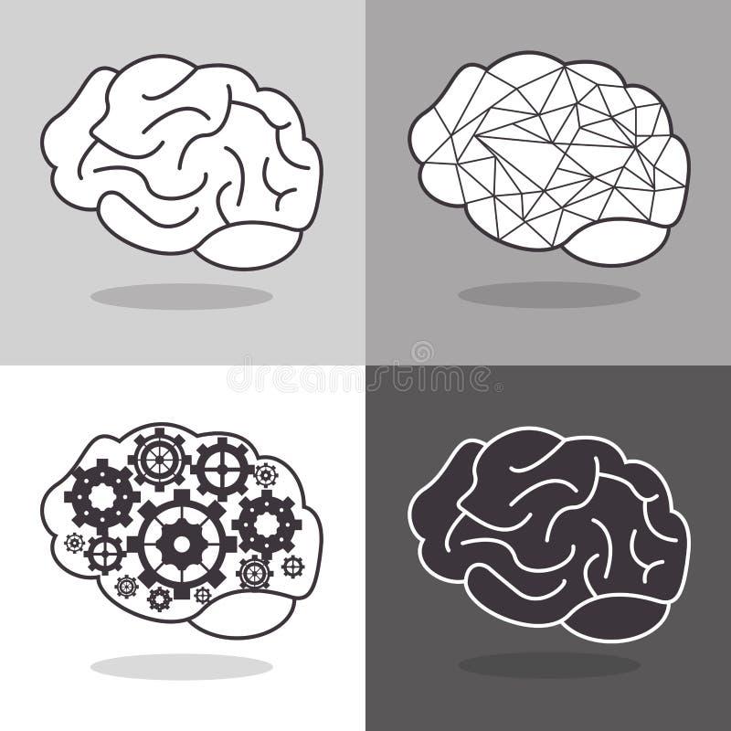 image d'icône d'esprit humain et de vitesses illustration stock