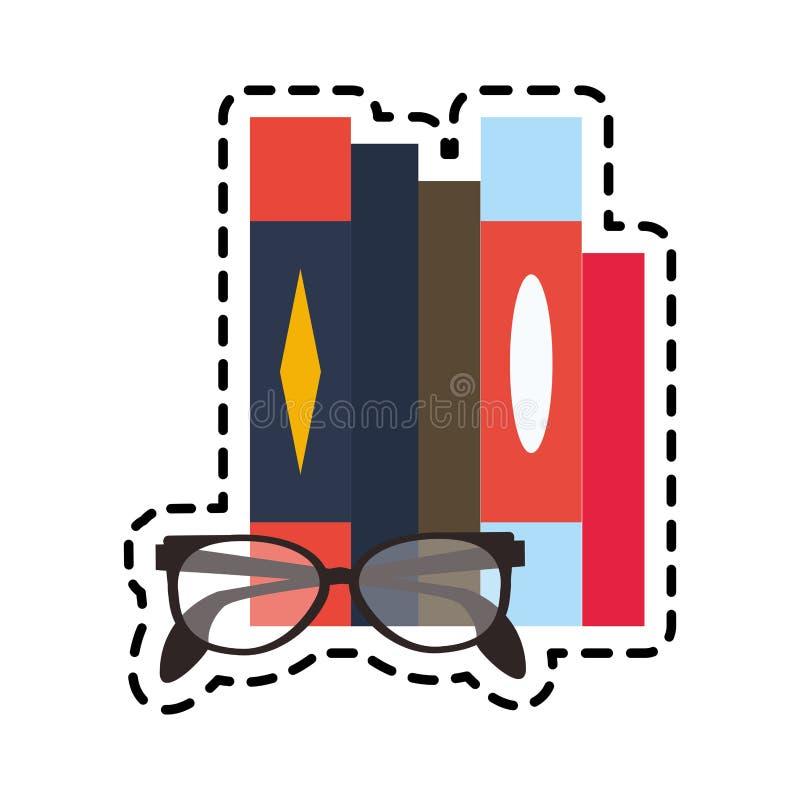 image d'icône de livres et en verre illustration stock