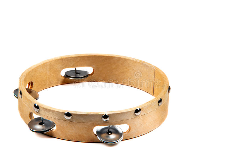 Image d'isolement de tambour de basque en bois avec la cloche sur le fond blanc photos libres de droits
