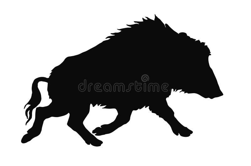Image d'isolement par vecteur d'une silhouette noire d'un sanglier solitaire courant illustration libre de droits