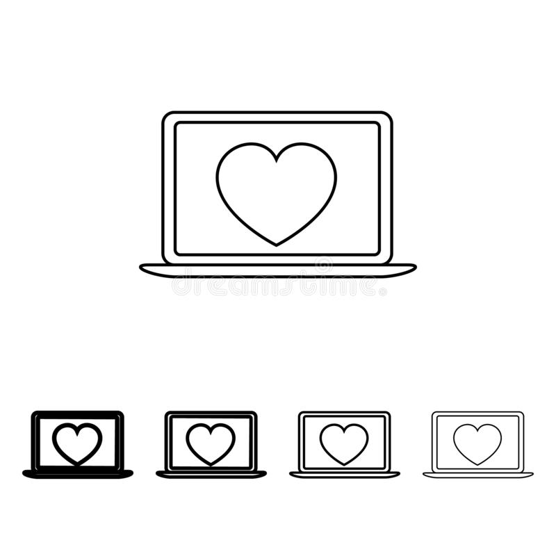 image d'un coeur sur une icône d'ordinateur portable dans le style différent d'épaisseur Un de l'icône de collection de Valentine illustration de vecteur