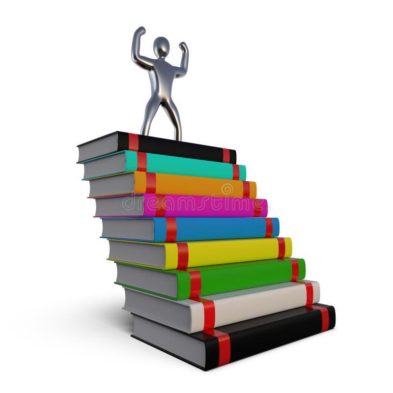 Image d'un homme réussi sur une montagne des livres Statuette du gagnant sur la route au succès Le concept de illustration de vecteur