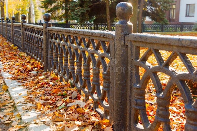 Image d'une belle barrière décorative de fer travaillé photographie stock libre de droits