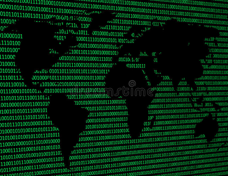 Image d'une carte plate du monde sur un fond de code binaire illustration de vecteur