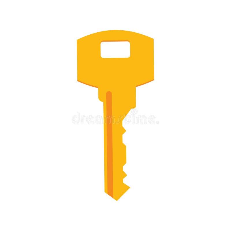 Image d'une clé jaune sur un fond blanc photographie stock libre de droits