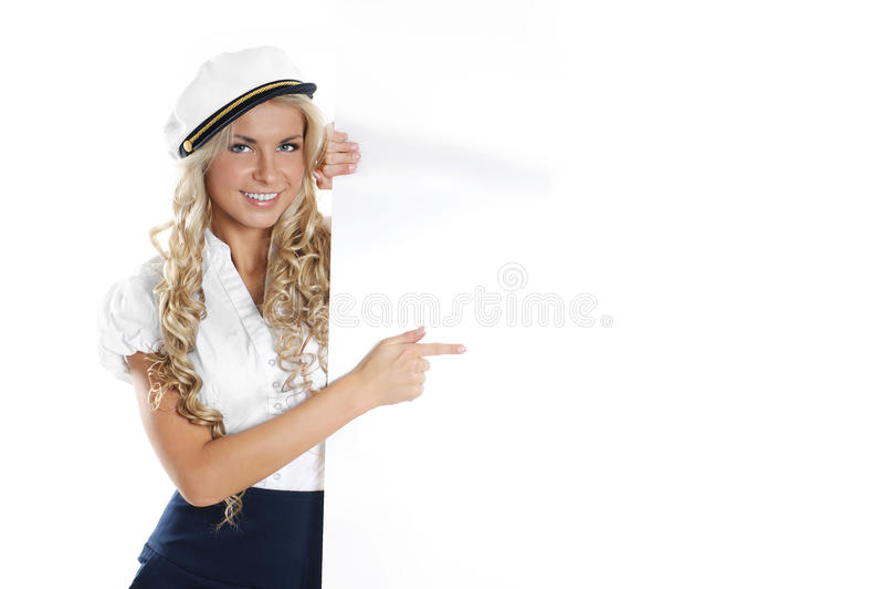 Image d'une jeune fille de marin retenant une affiche images libres de droits