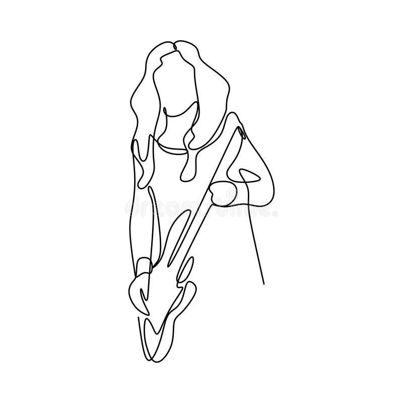image d'une ligne continue des joueurs de guitariste de balancier illustration stock