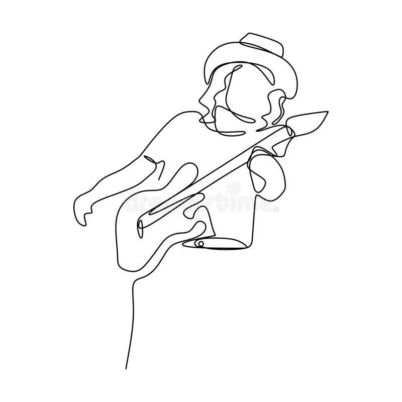 image d'une ligne continue des joueurs de guitariste de balancier illustration libre de droits