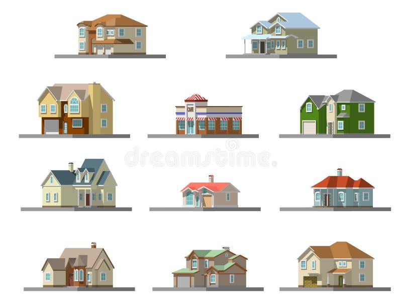 Image d'une maison privée Illustration plate de vecteur illustration libre de droits