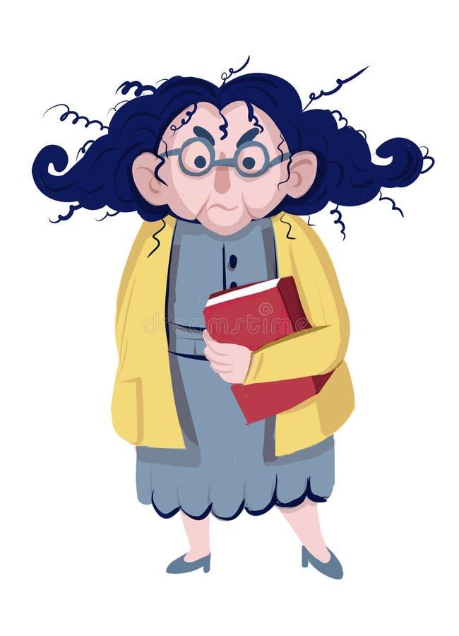 image de bande dessinée de dame âgée fâchée drôle dans la robe grise et le chemisier jaune, avec le regard fâché Retiré, plus âgé illustration libre de droits