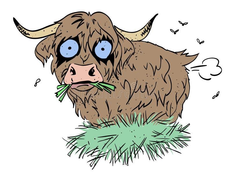 Image de bande dessinée de péter velu de vache illustration stock