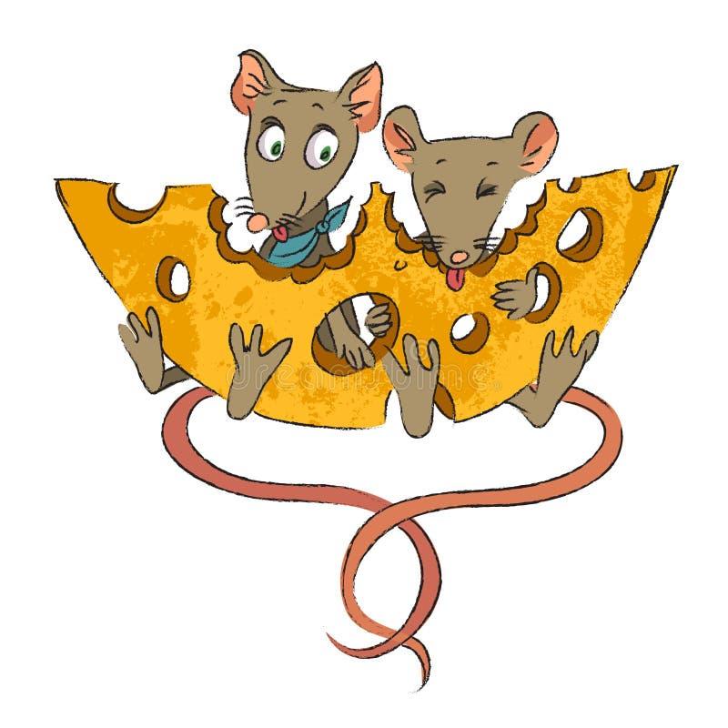 Image de bande dessinée des souris avec du fromage illustration de vecteur