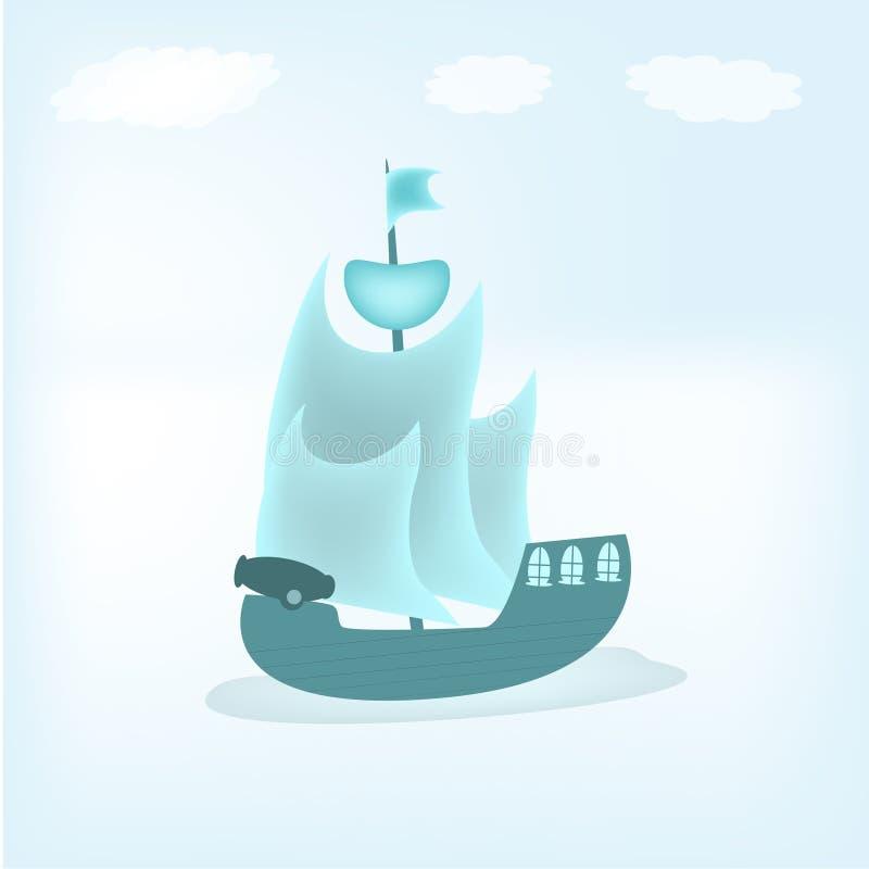 Image de bateau avec de l'eau le ciel et plus de illustration libre de droits