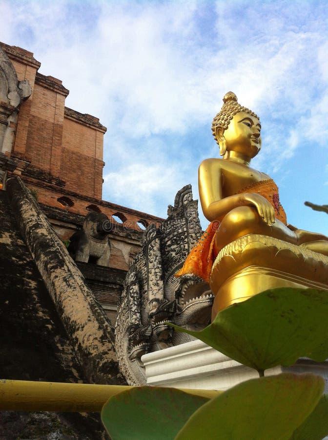 Image de Bouddha se reposant d'une manière élégante dans le temple photos stock