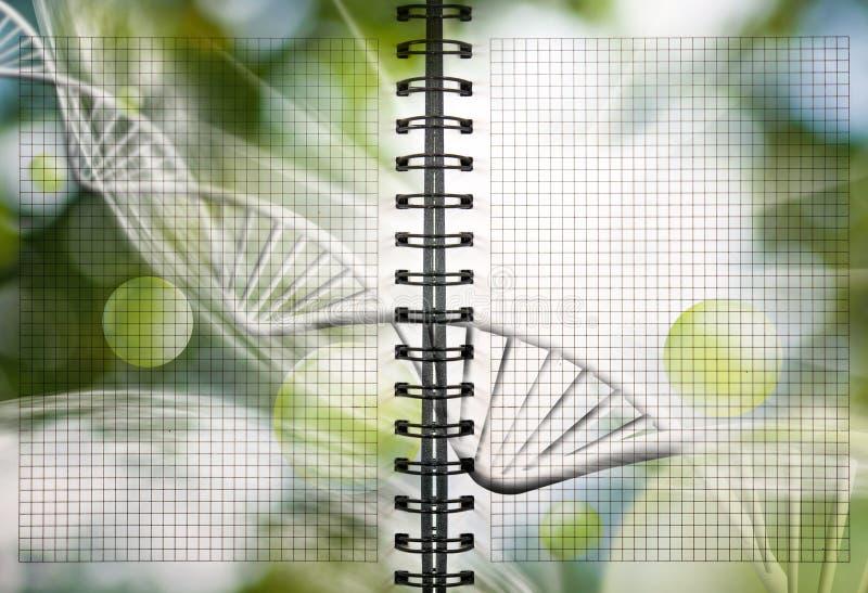 image de carnet avec la chaîne d'ADN photos libres de droits