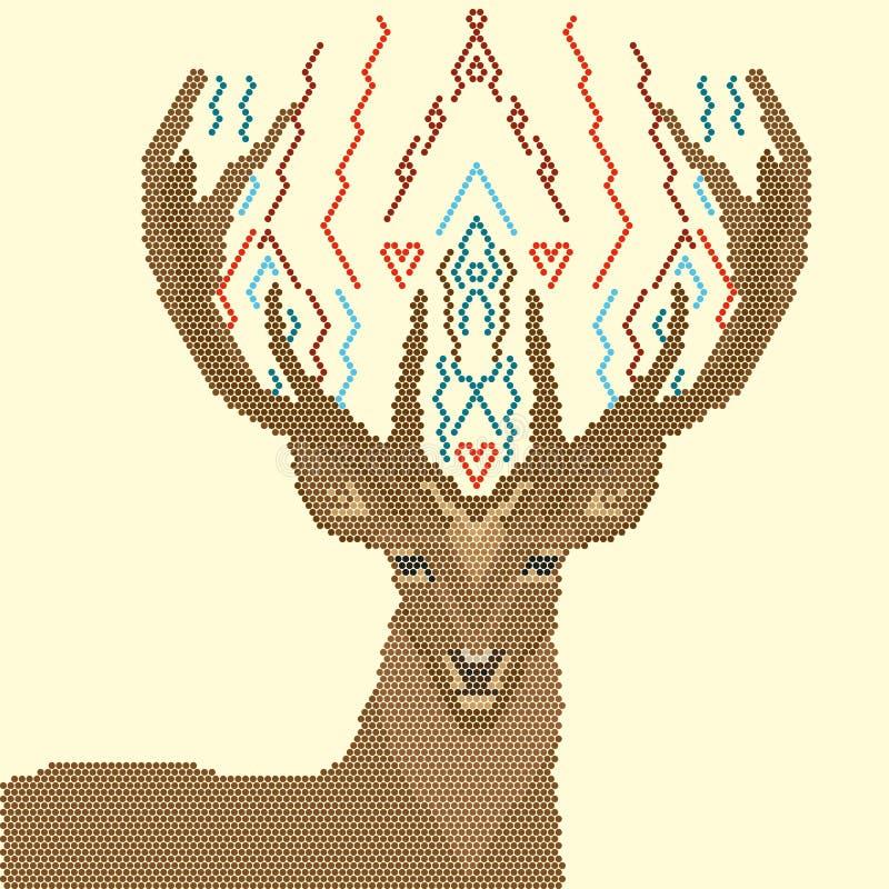 Image de cerfs communs des formes géométriques, sur un fond jaune illustration de vecteur