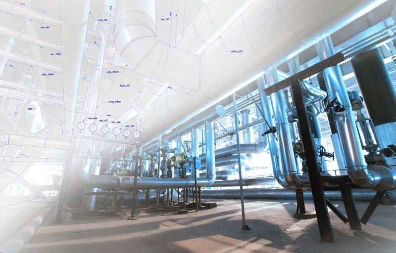 Image de concept de construction de DAO d'ordinateur de Wireframe tuyauterie industrielle i photos libres de droits