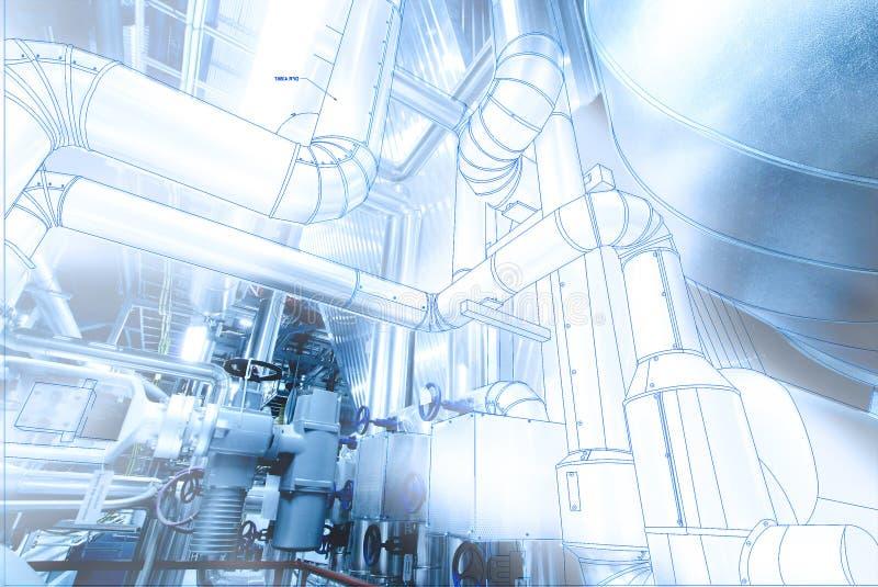 Image de concept de construction de DAO d'ordinateur de Wireframe tuyauterie industrielle i photographie stock libre de droits