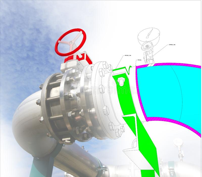 Image de concept de construction de DAO d'ordinateur de Wireframe tuyauterie industrielle i images libres de droits