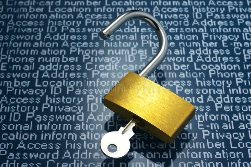 Image de concept des fuites de faille de la sécurité et d'information photos libres de droits