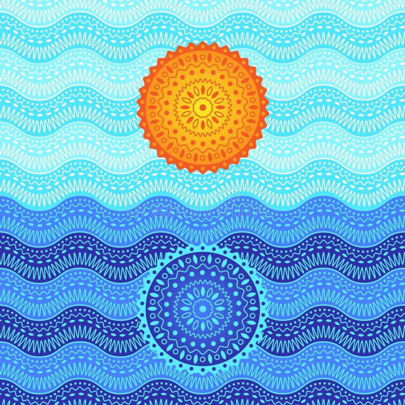 Image de coucher du soleil de mer Impressionisme abstrait avec le mandala illustration libre de droits