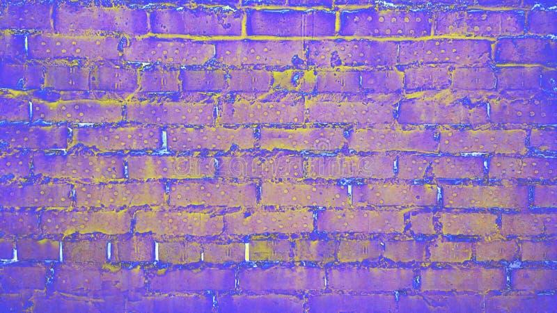 Image de couleur vive d'un mur en briques dans les tons néons photographie stock