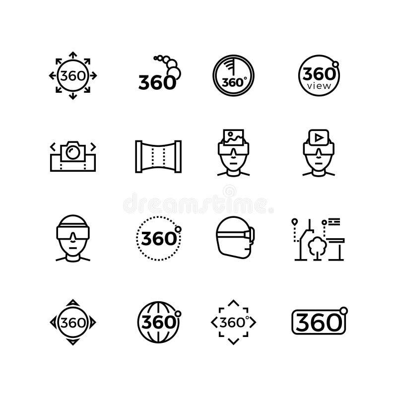 Image de degré, panorama, ligne mince icônes de réalité virtuelle illustration libre de droits