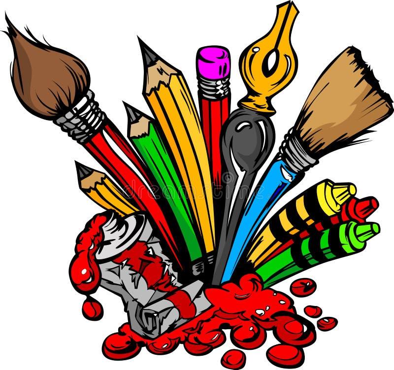 Image de dessin animé des approvisionnements d'art illustration stock