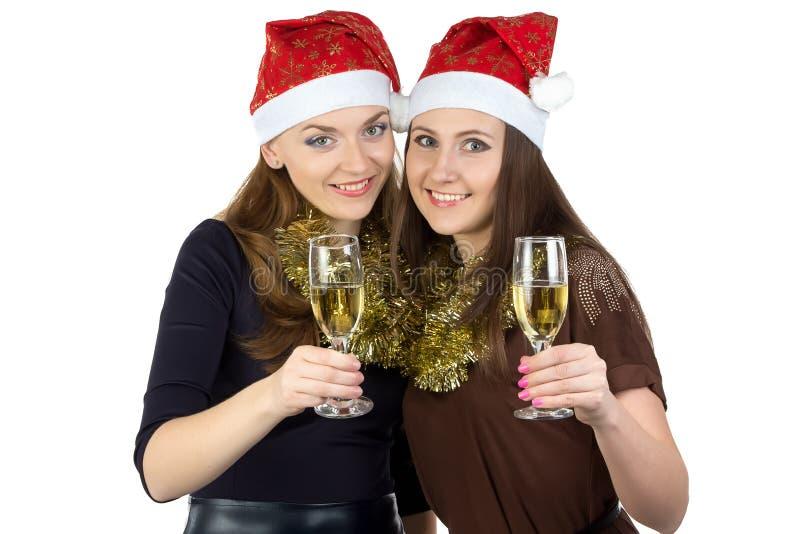 Image de deux femmes avec les verres photos stock